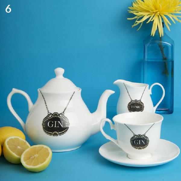 Service à thé Gin - Pot à lait, tasse et théière - productofyourenvironment.co.uk