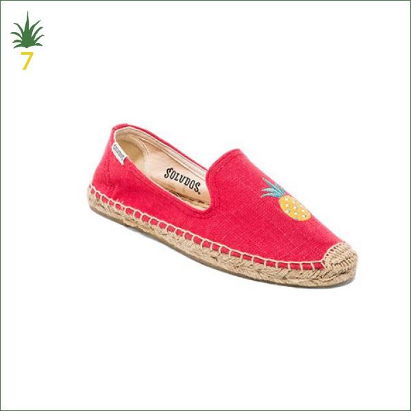 Espadrilles Soludas rouge broderie ananas