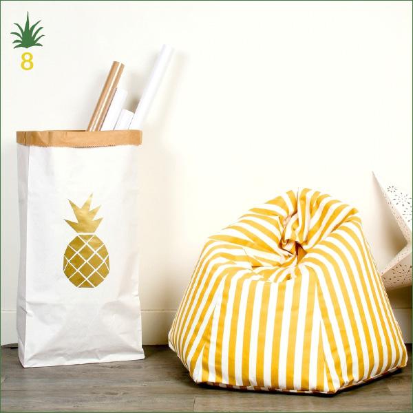 Sac de rangement en papier blanc - Mon Petit Zoréol - Motif ananas doré