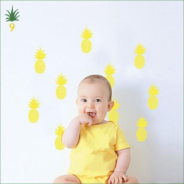 Stickers jaune motif ananas - Mimilou