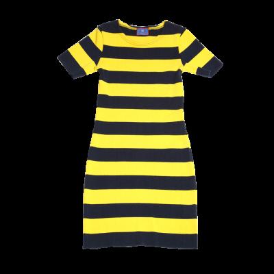 striped-navy-yellow-strech-dress