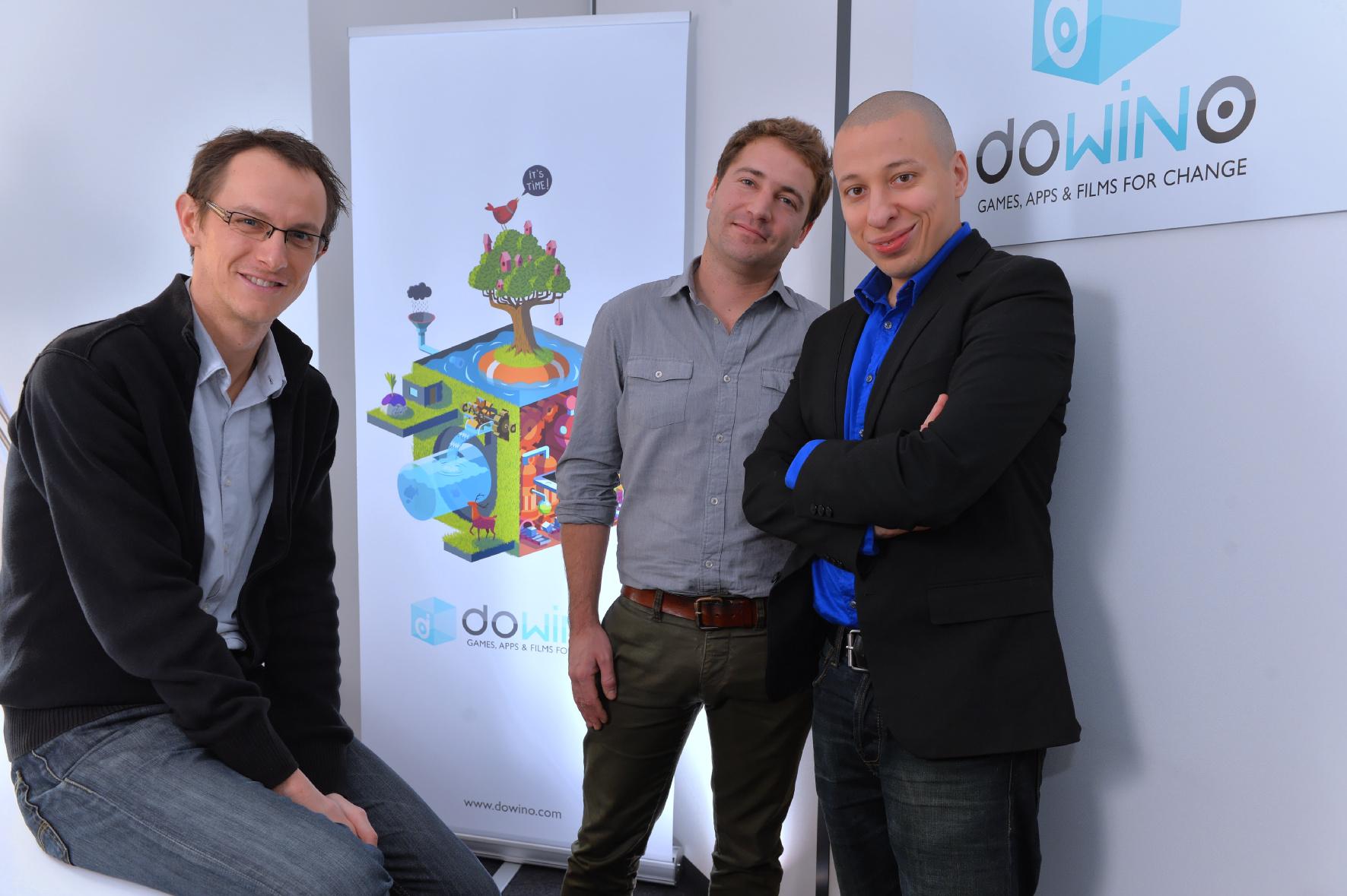 L'équipe DOWiNO : de gauche à droite Pierre-Alain Gagne (producteur), Jérôme Cattenot (directeur artistique) et Nordine Ghachi (concepteur et réalisateur)